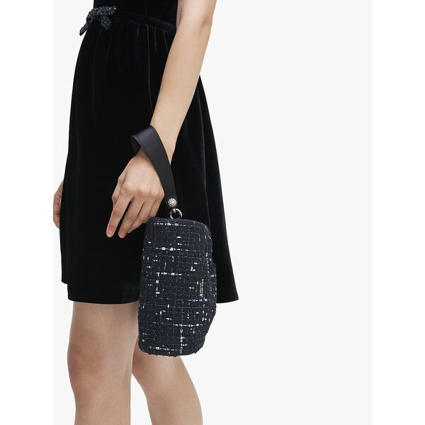 party tweed clutch, BLACK MULTI, hi-res