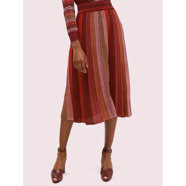 metallic stripe knit skirt, multi, hi-res
