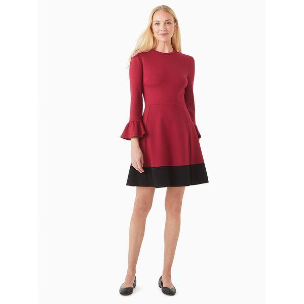 colorblock bell sleeve ponte dress