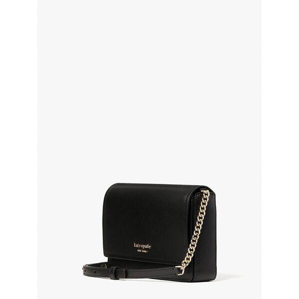spencer flap chain wallet, black, hi-res