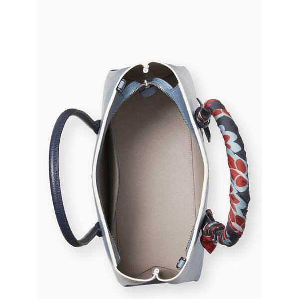 eva scarf handle medium top zip satchel, baltic sea, hi-res