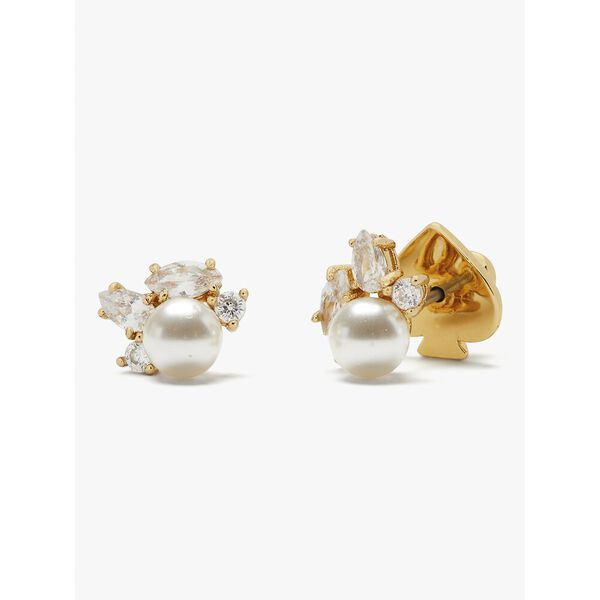 little gem cluster studs, CREAM/GOLD, hi-res