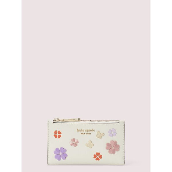 spencer spade clover butterfly small slim bifold wallet, parchment multi, hi-res