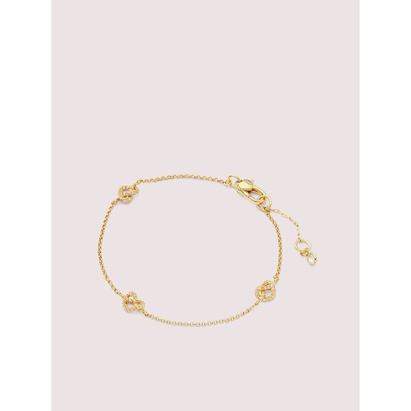 loves me knot pavé bracelet, clear/gold, hi-res