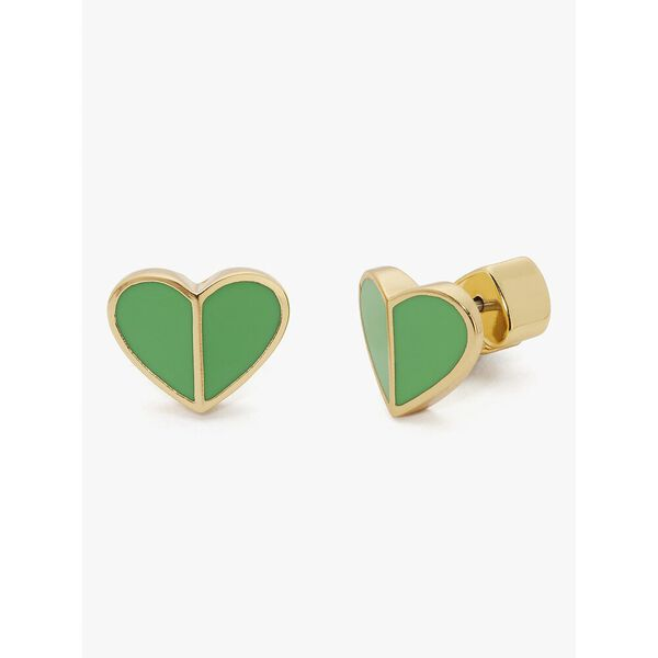 heritage spade small heart studs, green, hi-res