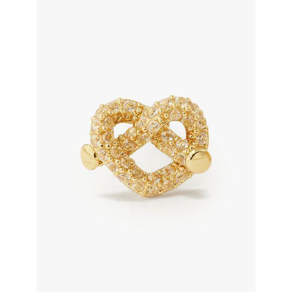 loves me knot pavé mini studs, clear/gold, hi-res