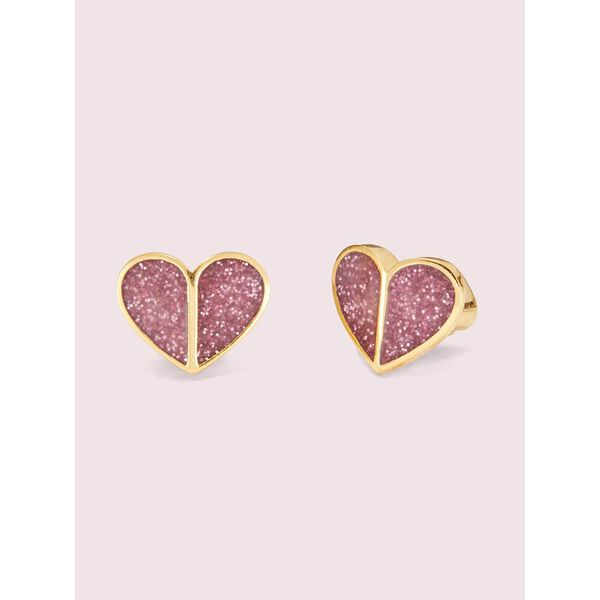 heart to heart pavé small heart studs, pink, hi-res