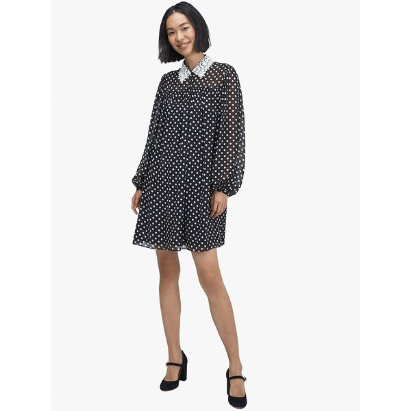 domino dot swing dress, black, hi-res