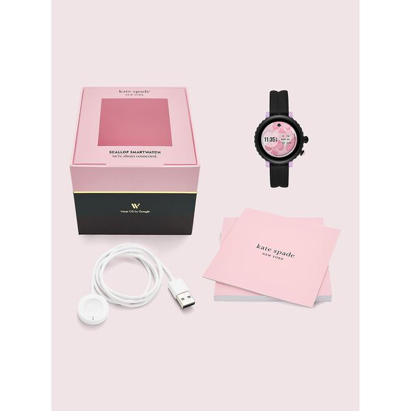 kate spade new york black silicone sport smartwatch featuring contactless payment, black, hi-res