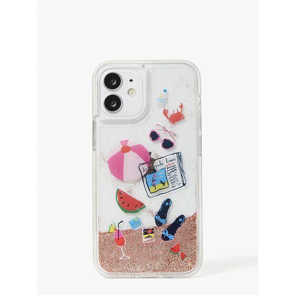 pool party liquid glitter iphone 12 mini case, multi, hi-res