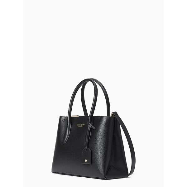 eva small top zip satchel, black, hi-res