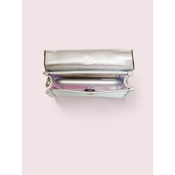 iridescent flap phone crossbody, silver multi, hi-res