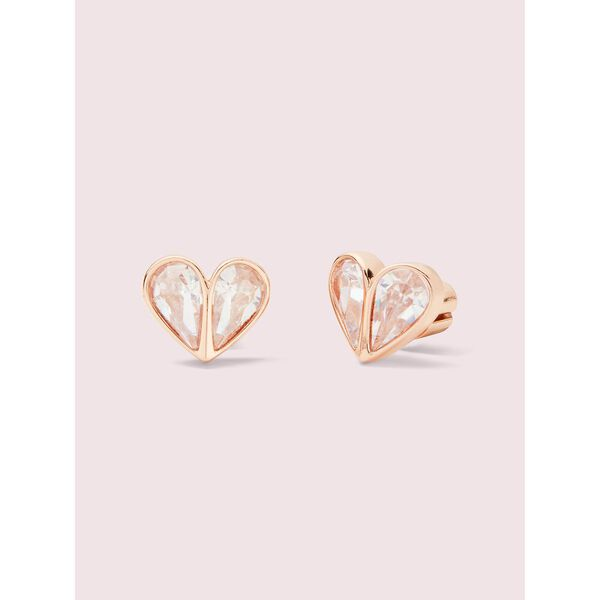rock solid stone small heart studs, clear/rose gold, hi-res