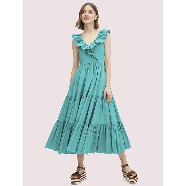 poplin ruffle tiered dress