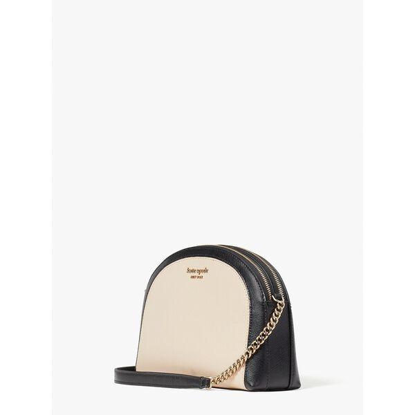 spencer double-zip dome crossbody, warm beige/black, hi-res