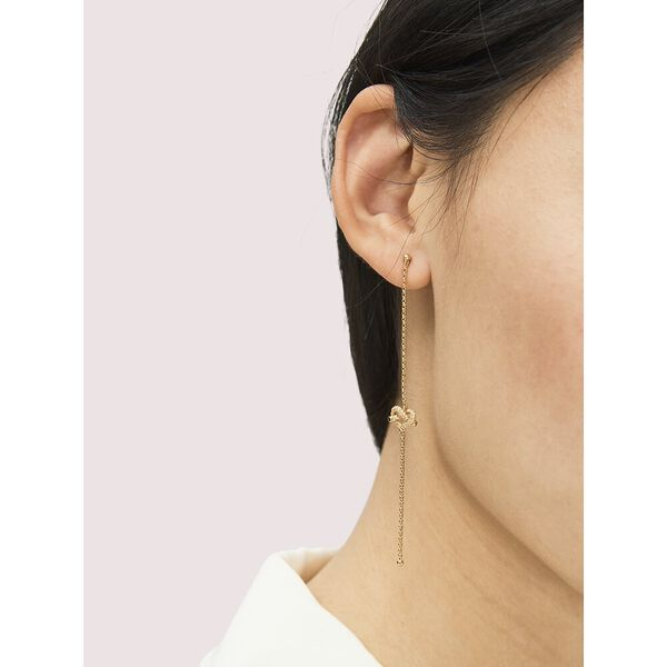 loves me knot pavé linear earrings, clear/gold, hi-res