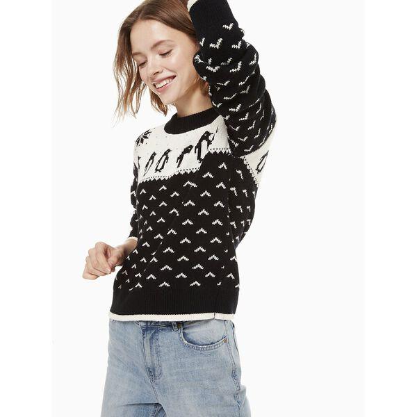 penguin intarsia sweater, BLACK/CREAM, hi-res