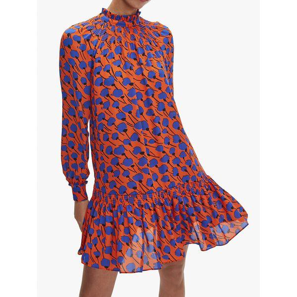 poetic floral shift dress, tamarillo, hi-res