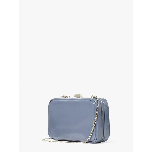 tonight crinkle patent clutch, BASS BLUE, hi-res