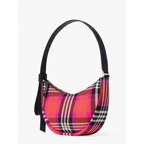 smile foliage plaid small shoulder bag, pink multi, hi-res