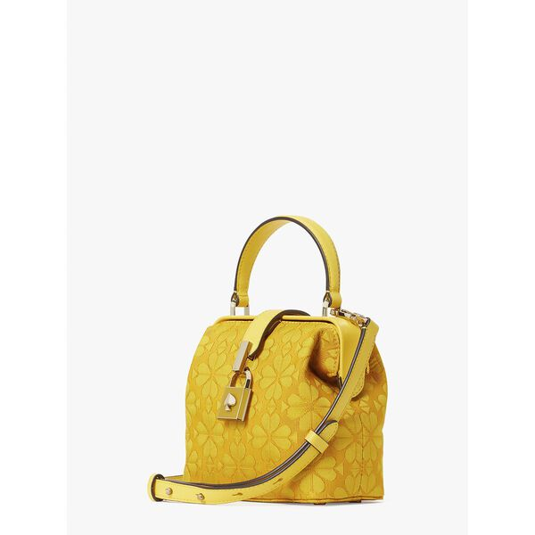 remedy spade flower small top-handle bag, yellow sesame, hi-res