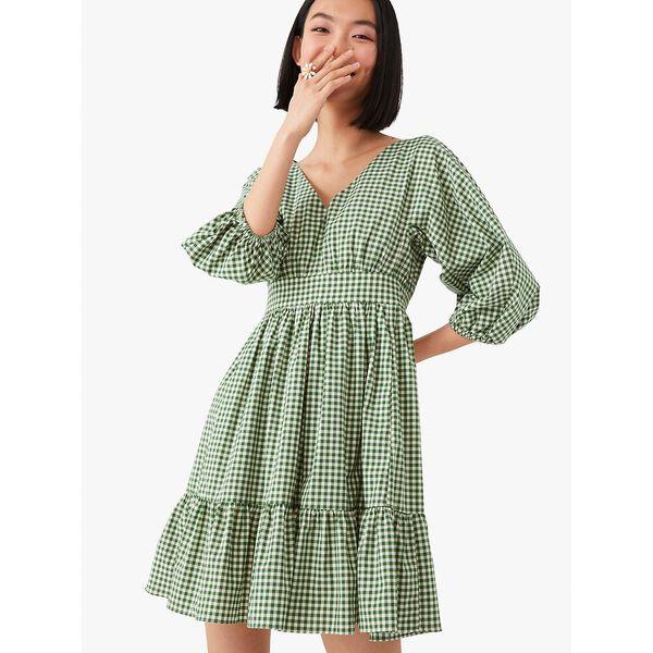 mini gingham bodega dress, courtyard, hi-res
