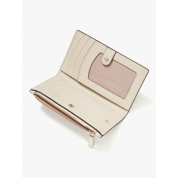 spade flower coated canvas small slim bifold wallet, parchment multi, hi-res