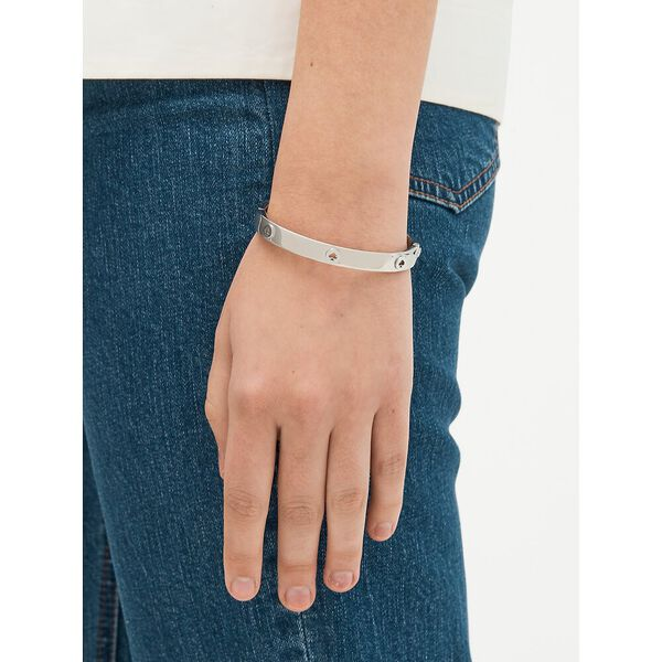 spot the spade studded hinged bangle, silver, hi-res