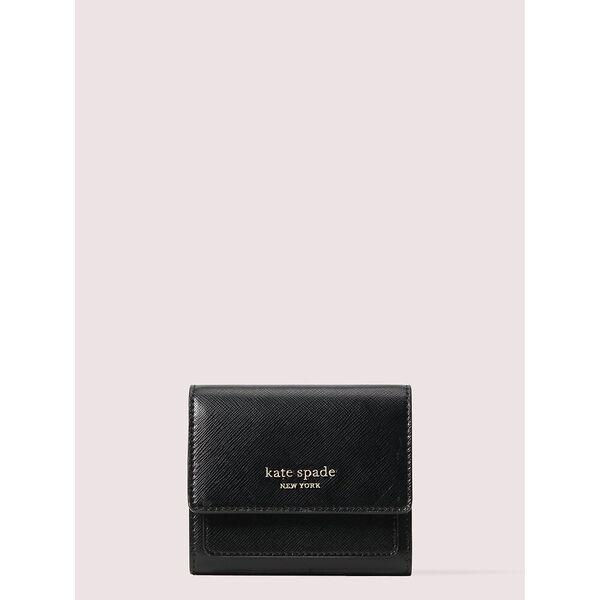 spencer trifold flap wallet, black, hi-res