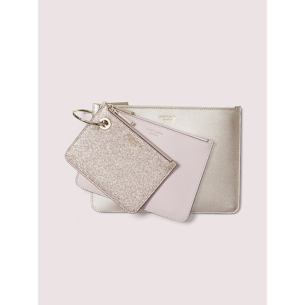metallic pouch trio, meadowpink, hi-res