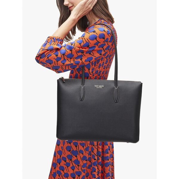 all day large zip-top tote, black, hi-res