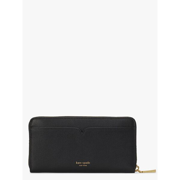 toujours zip-around continental wallet, black, hi-res