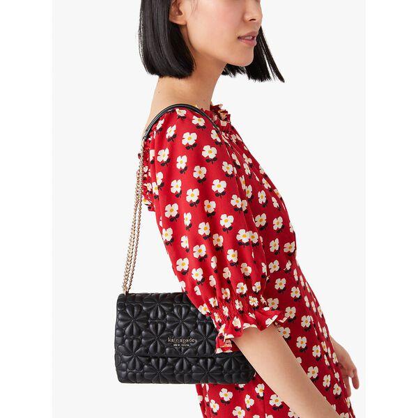 bloom small flap shoulder bag, black, hi-res