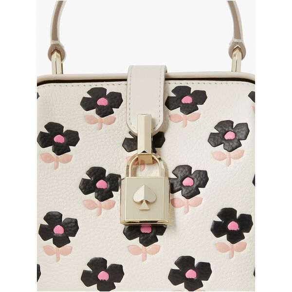 remedy block print floral small top-handle bag, french cream, hi-res