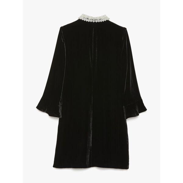jewel-button velvet shirtdress, BLACK, hi-res