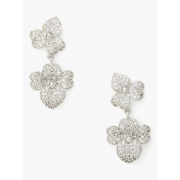 pave statement drop earrings, CLEAR/SLVR, hi-res