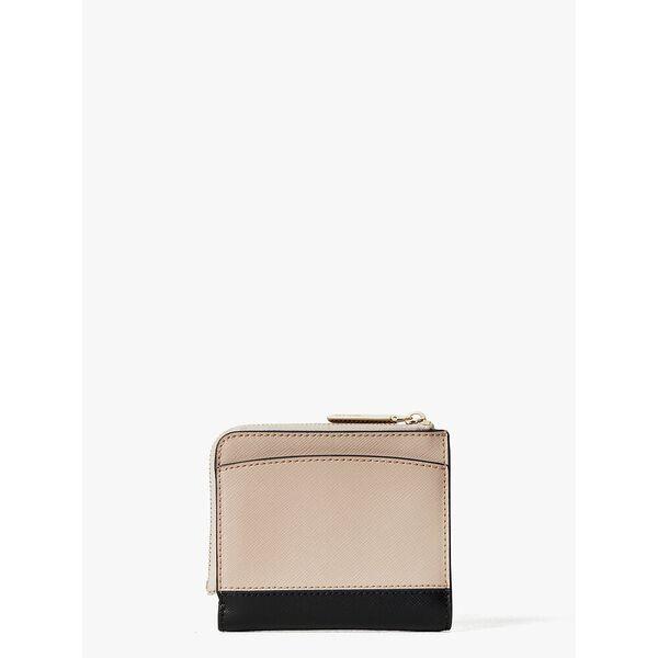 spencer small bifold wallet, warm beige/black, hi-res