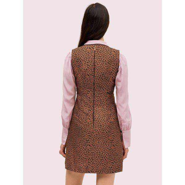 flora leopard jacquard dress, black, hi-res