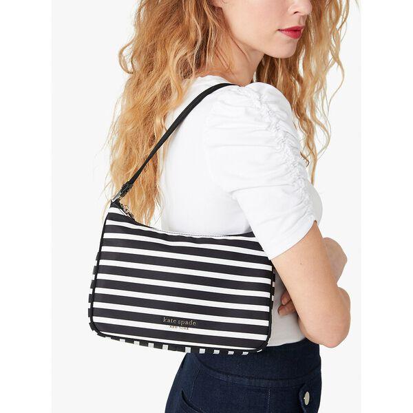 the little better sam stripe small shoulder bag, black/clotted cream, hi-res