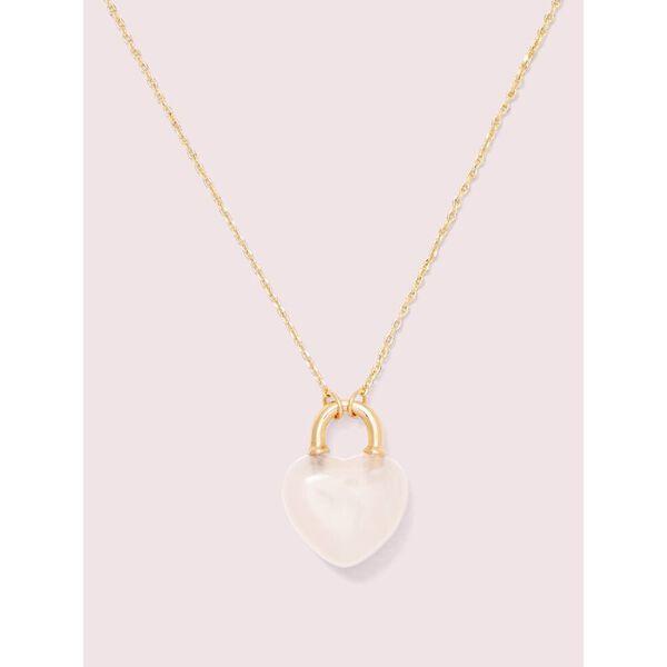open heart stone lock mini pendant