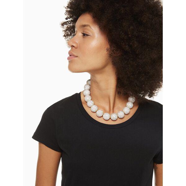 razzle dazzle statement necklace, clear/worn gold, hi-res