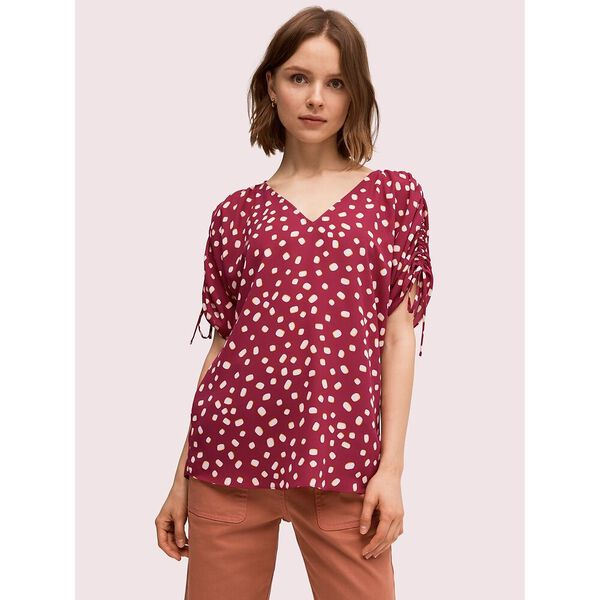 mallow dot ruched sleeve top