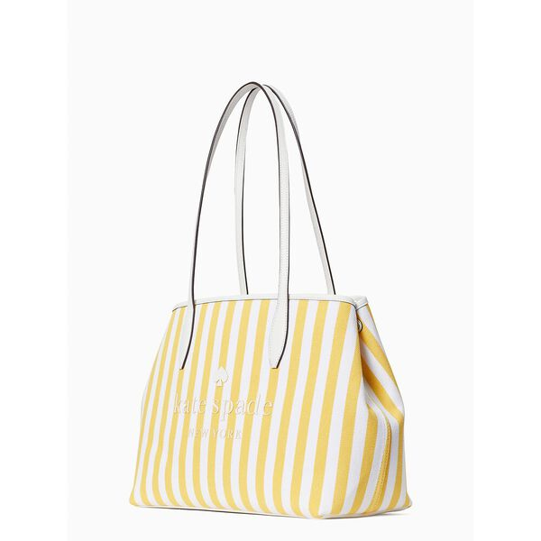 street tote stripe small side snap, yellow sesame, hi-res