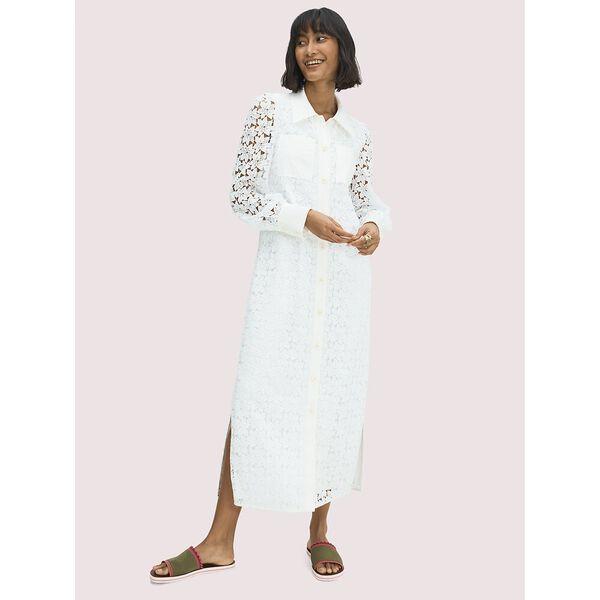 leaf lace shirtdress, fresh white, hi-res