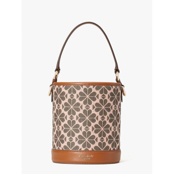 picnic spade flower jacquard small bucket bag, pink multi, hi-res