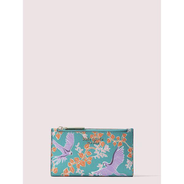 spencer bird party small slim bifold wallet, fiji green multi, hi-res