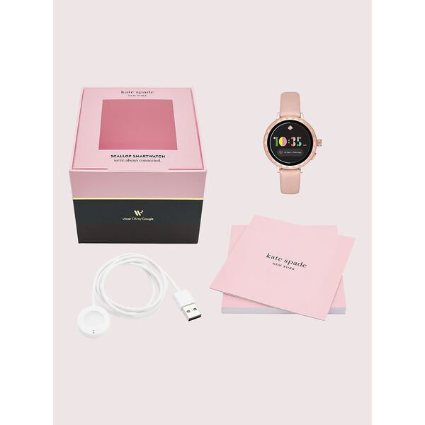 kate spade new york scallop blush leather smartwatch 2 featuring contactless payment, pink, hi-res