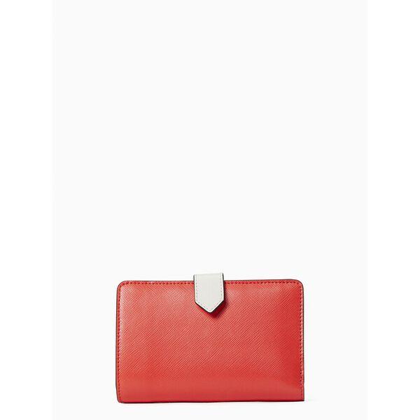 staci colorblock medium compact bifold wallet, red multi, hi-res