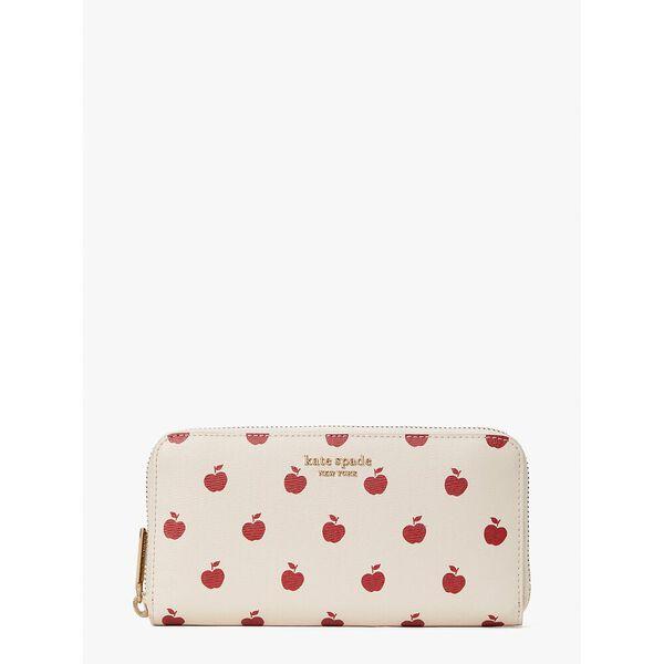 spencer apple toss zip-around continental wallet, milk glass multi, hi-res