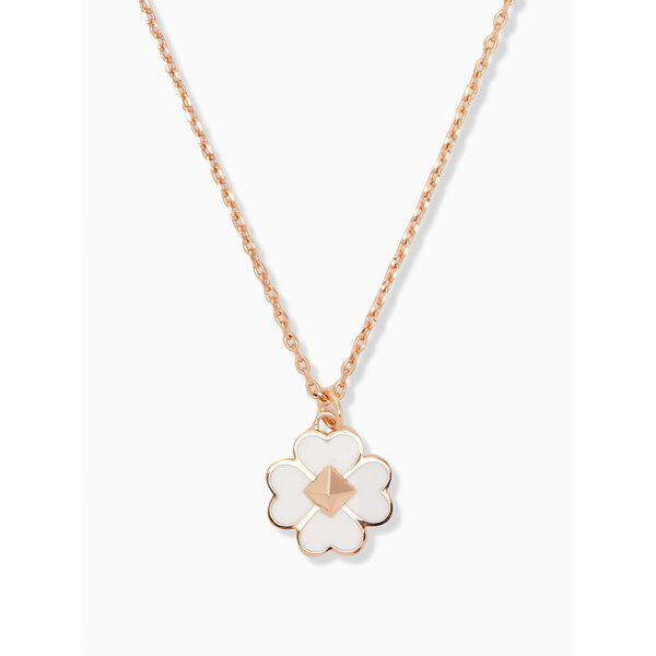 spades and studs enamel mini pendant, white, hi-res